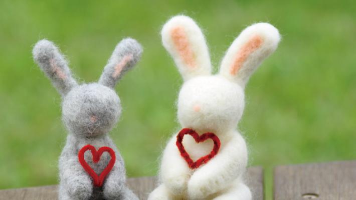 毛糸のハートをもつ二匹のウサギのフェルト